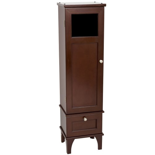 zenith products espresso wood moderne glass window linen tower cabinet