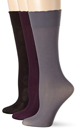 Ellen Tracy Women's 3 Pair Assorted Trouser Sock Pack, Blk/Charcoal/Plum, 9-11
