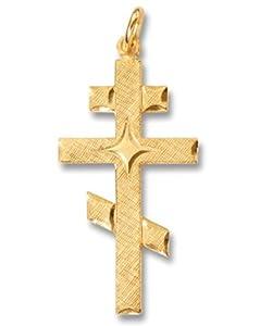 Sterling Silver Gold Plate Three Bar Russian Byzantine Orthodox Cross