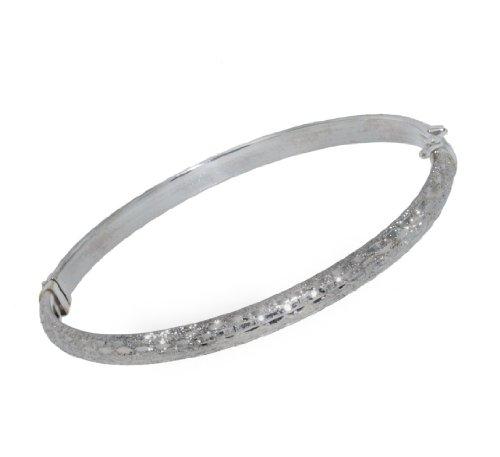 9ct White Gold Diamond Cut Bangle