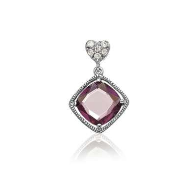New Fashion Necklace Pendant Jewelry Sterling Silver Small CZ Heart Shaped w/ Hanging Gemstone Amethyst Square CZ Design(WoW !With Purchase Over $50 Receive A Marcrame Bracelet Free)
