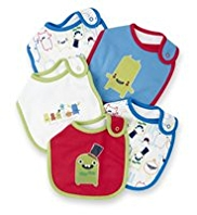 5 Pack Pure Cotton Monster Bibs