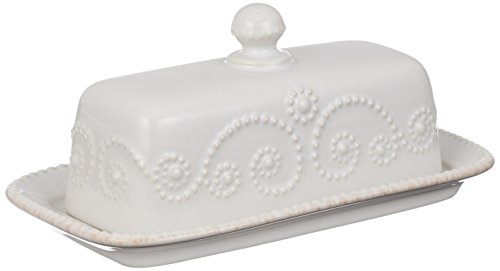 Lenox French Perle Covered Butter Dish, White (White Covered Butter Dish compare prices)