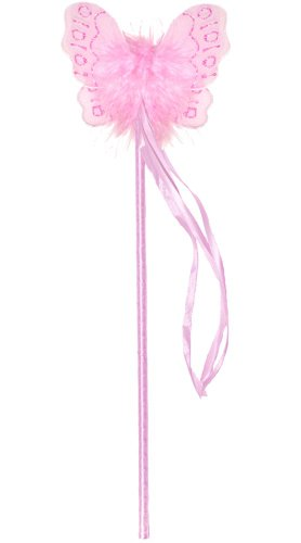 Pink Marabou Nylon Butterfly Fairy Wand Dress Up Birthday Party Favor Costume