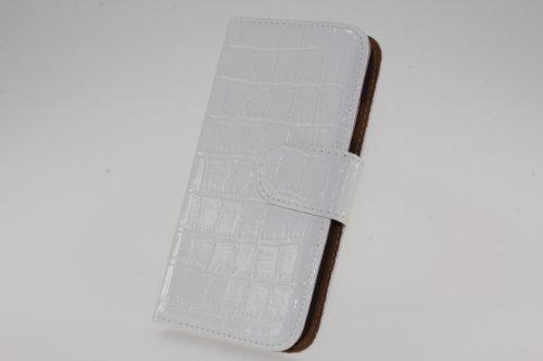 JAPAEMO Galaxy S4 (SC-04E) アニマルシリーズ クロコ柄エナメル風 レザー調 フリップ 手帳型 マグネットタイプ カードケース付き 全5色 ドコモ ギャラクシーS4 ケース ホワイト [JE01012]