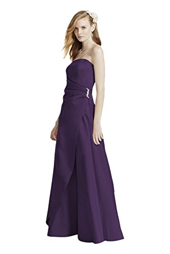 e51dad7001f4 Satin Bridesmaid Dress with Side Drape & Brooch Style 8567, Lapis, 22