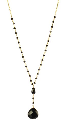 Black Onyx Heart Pendant Necklace on Gold Over Sterling Silver Spinel Bead Link Chain Necklace, 18