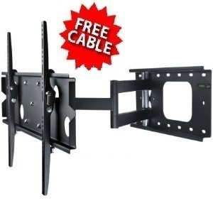 """Mount-It! Single Arm Extra Extension Swiveling Tilting Articulating Full Motion Cantilever Wall Mount Bracket For Plasma Lcd Led Tvs (32-60"""") With Free Hdmi Cable"""