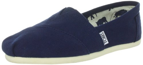 TOMS Womens Canvas Slip-On,Navy Blue,7.5 M