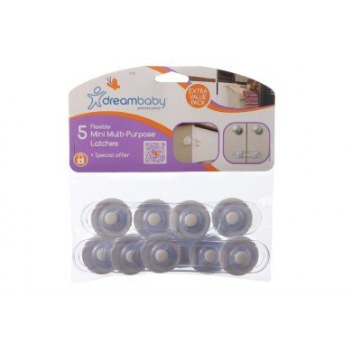 Dream Baby Mini-Multi Purpose Latch, White - 10 Pack