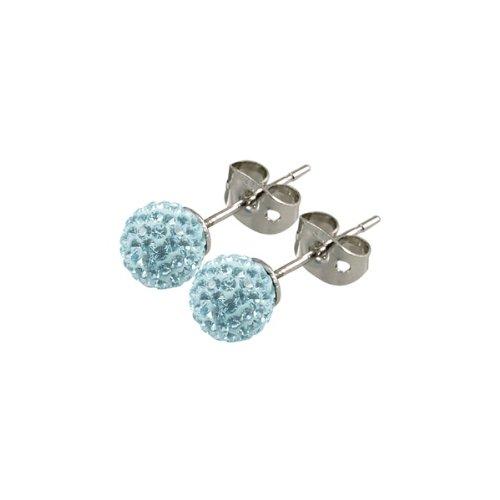Tresor Paris Donnay Light Blue Crystal Earrings 6mm