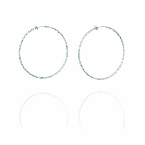 Twisted Creole Hoop Clip On Earrings - 6cm - Silver