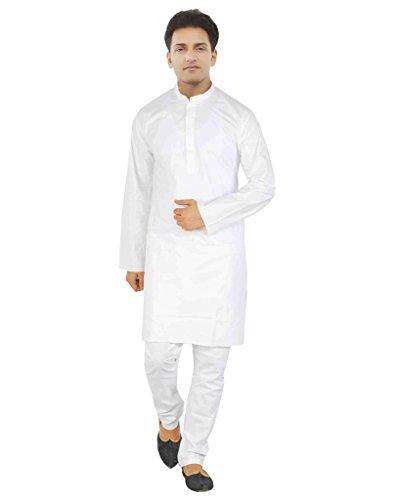 JBN Creation Men Pure Cotton White Kurta Pyjama