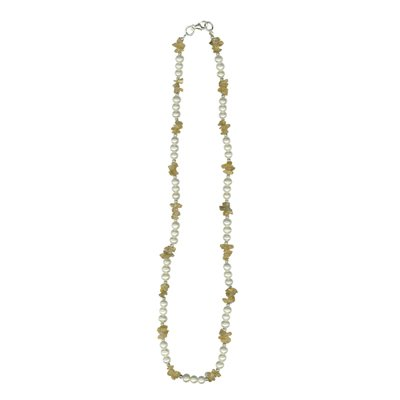 Citrine Chips Bead & Freshwater Pearl Necklace in Silver