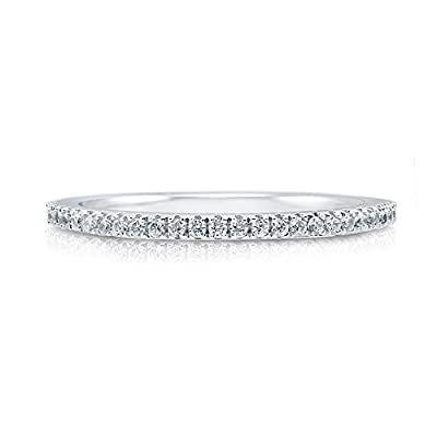 BERRICLE 925 Sterling Silver Cubic Zirconia CZ Women Wedding Bridal Anniversary Eternity Band Ring