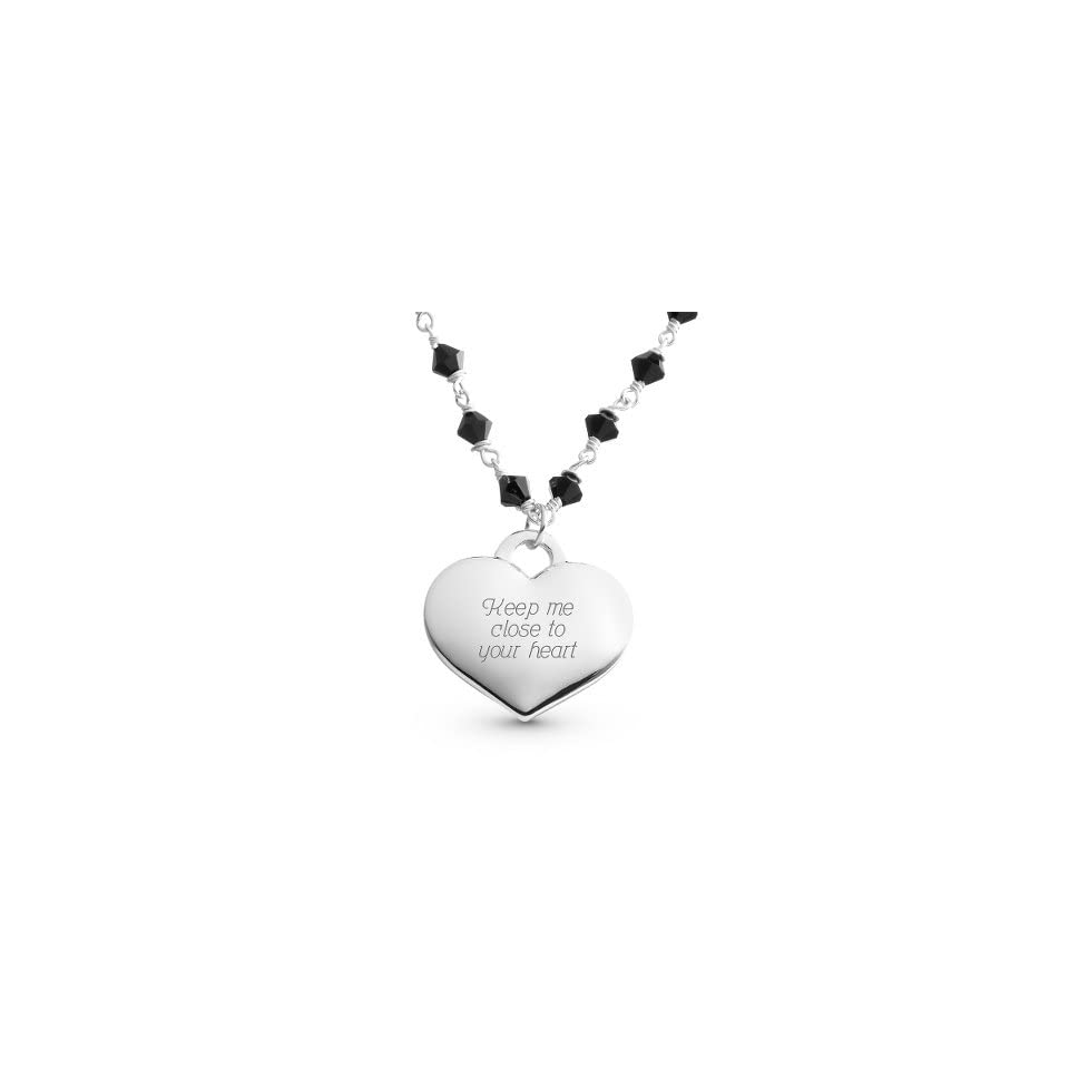 Personalized Black Agate Heart Necklace Gift Jewelry