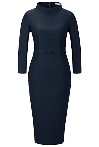 MUXXN Women's 1950s Vintage 3/4 Sleeve Elegant Collar Cocktail Evening Dress (L, Blue)