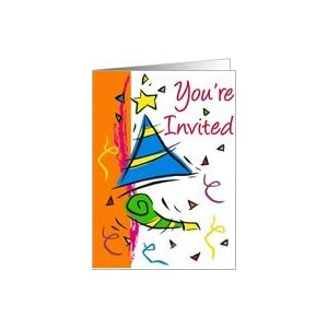 Amazon.com: Birthday hat and noise maker-Invite Card: H