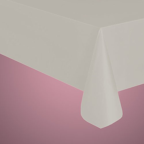 """Thicker Plastic Table Covers 54"""" x 108"""" (2, White) by Party Expo"""