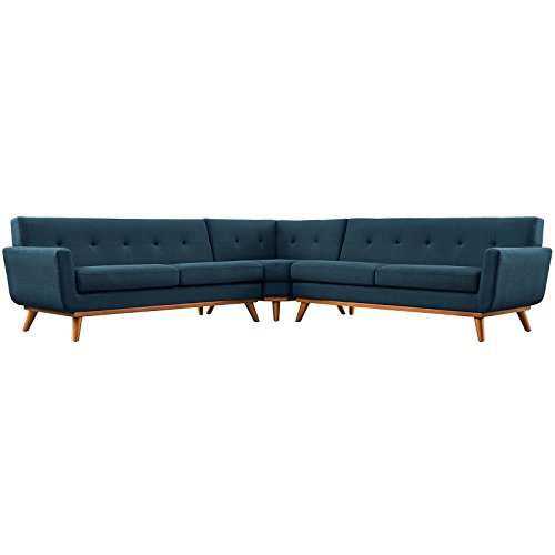 LexMod Engage L-Shaped Sectional Sofa, Azure