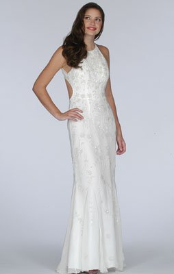 Ivory Beaded Evening Dress - Bridal, Wedding, Party, Formal Gown by Sean Collection (1856)
