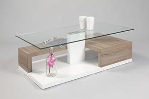 Couchtisch luis 110 cm rollbar mit glasplatte mdf sonoma for Couchtisch rollbar