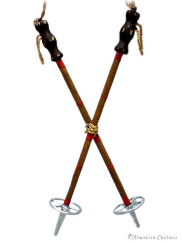 Vintage Retro Wooden Ski Poles Christmas Xmas Ornament