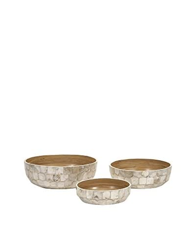 Set of 3 Milbourne Shell Bowls, Silver/Natural