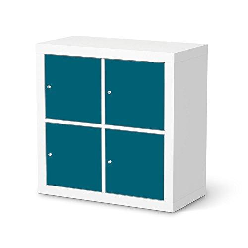 Mbelfolie-selbstklebend-fr-IKEA-Kallax-Regal-4-Trelemente-Klebefolie-Muster-Mbel-Folie-Sticker-Einrichtung-aufpeppen-Raumgestaltung-Farbe-Trkisgrn-1