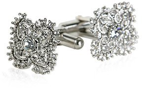 Antique Cufflink Set with Clear Crystal and Platinum Overlay