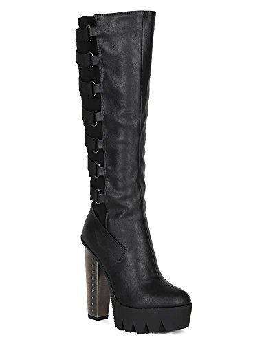 Bumper Bi96 Women Leatherette Lycra Lug Sole Strappy Metal Chunky Heel Knee High Boot - Black (Size: 8.0)