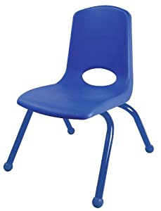 Early Childhood Resources Bucket Seat Chair with Ball Glides and Blue Legs - 12 inches - Blue