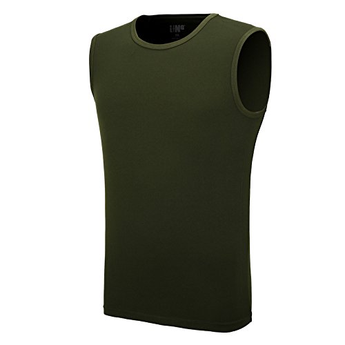 Maoko Men's Workout Sports Polyester Sleeveless Shirt,Basketball Training Tank Tops for Boys Quick Drying Shirts Armygreen