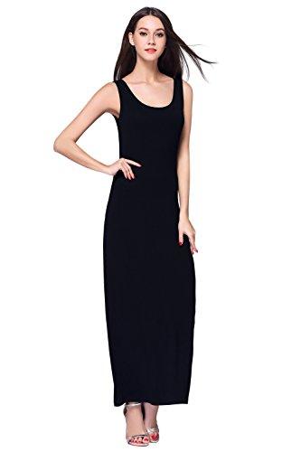 HIKA Women's Fashion Sleeveless Casual Long Maxi Tank Dress Medium Black (Tank Maxi Dresses For Women compare prices)