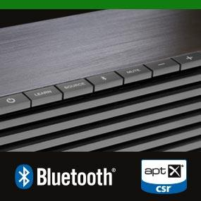 Bluetooth wireless technology with aptX delivers CD-quality sound from you smartphone, tablets, computers, and other compatible devices.