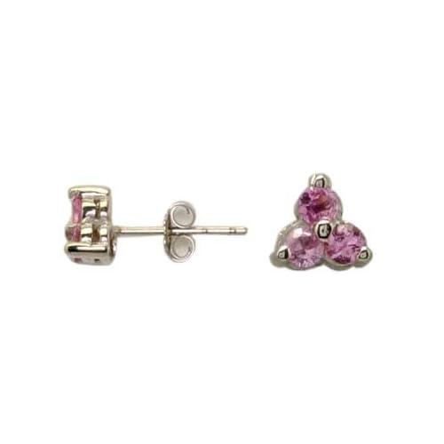 14K White Gold Pink Sapphire Earrings