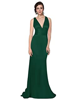 Ever Pretty Women's Trailing V-Neck Ruffles Cross Back Bridesmaid Dress, Green, 4