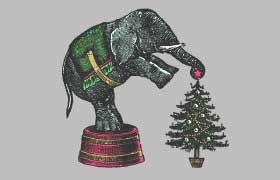 Victorian Elephant Decorating Tree Boxed Christmas Cards
