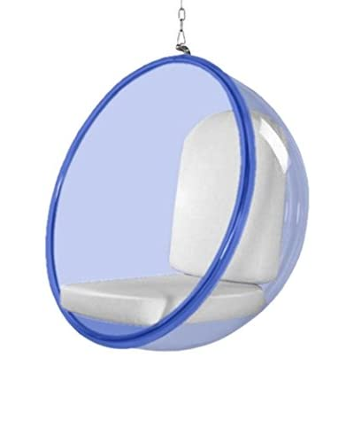 Manhattan Living Blue Bubble Hanging Chair, White