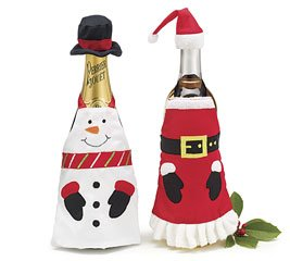 Set of 2 Assorted Snowman & Santa Wine Bottle Aprons Believe Collection