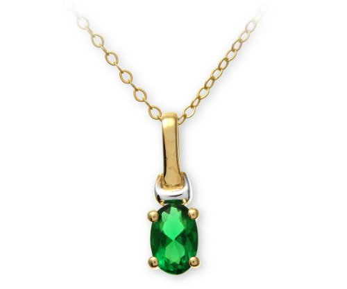 9ct Yellow and White Gold Ladies' Cubic Zirconia Created Emerald Birth Stone Pendant + 46cm Yellow Gold Trace Chain