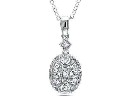 Sterling Silver 0.06 CT TDW Diamond Fashion Pendant With Chain (I3)