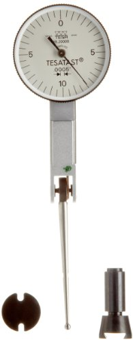 "Brown & Sharpe Tesa 18.20008 Tesatast Dial Test Indicator, Top Mounted, Extra Long Contact Point, M1.4X0.3 Thread, 0.0787"" Stem Dia., White Dial, 0-10-0 Reading, 1.1"" Dial Dia., 0-0.02"" Range, 0.0005"" Graduation, +/-0.0005"" Accuracy back-182093"