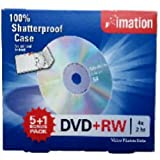 Imation DVD+RW 4X 2 Hour 5 + 1 Bonus Pack 100% Shatterproof Case