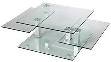 Table basse carrée, verre trempé