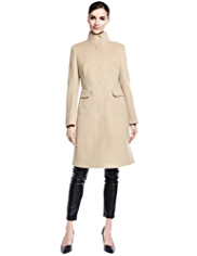 Autograph Funnel Neck Coat with Wool