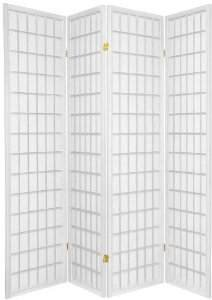 Coaster Oriental Style 4-Panel Room Screen Divider, Black Framed (White, 4 panel)