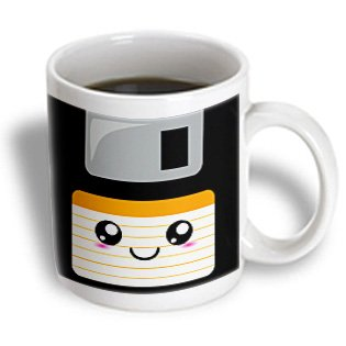 3dRose mug_57452_1 Kawaii Cute Happy Floppy Disk-Retro Computers-Japanese Anime Smiling Cartoon with Orange Label Ceramic Mug, 11-Ounce
