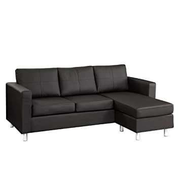Gt sectional couches for small spaces for Small spaces sectional sofa black faux leather