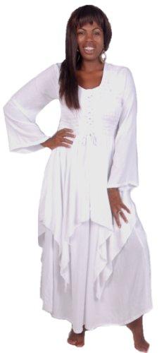 Lotustraders Empire Layered Lagenlook Lacing Bodice Dress G705 (5X, White)